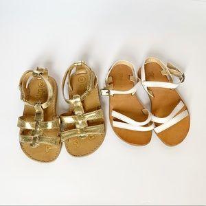 Gap White Patent & Circo Gold Strappy Sandals | 8